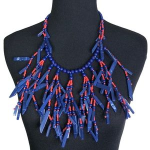 BCBGMAXAZRIA Statement Necklace Red Blue